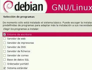 Debian Seleccion de paquetes